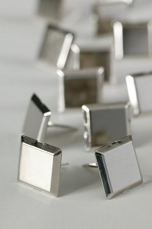 Large Silver Square Studs